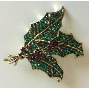 Liz Claiborne Brooch Pin Beaded Embellished Leaf